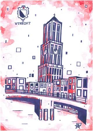 Prent L-Tuziasm 2013 Utrecht  gracht & Dom